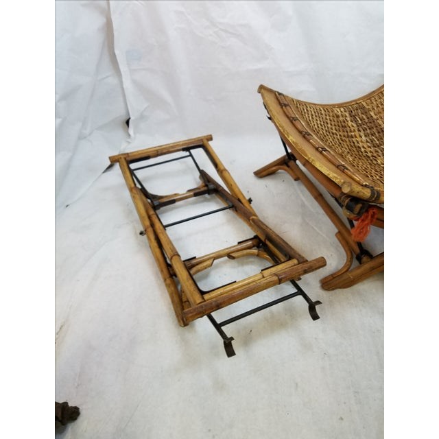 Vintage Rattan Sling Chair With Ottoman For Sale - Image 5 of 8