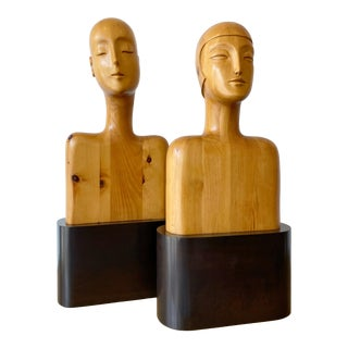 Carved Wood Art Deco Style Busts on Plinth Bases - A Pair For Sale