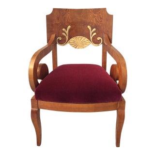 19th Century Biedermeier Gilt Detail Veneered Armchair For Sale