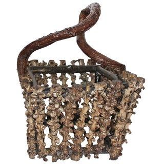 Rustic Grapevine Root Basket For Sale