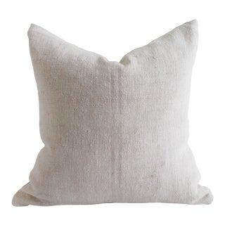 Vintage European Grain Sack Hemp Pillow With Pale Pink Stripes For Sale