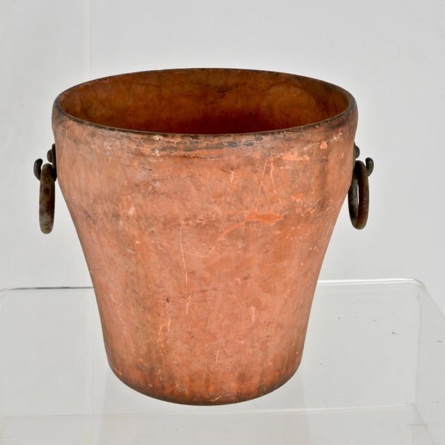 Traditional Cast Iron Garden Planter With Terra Cotta Finish For Sale - Image 3 of 11