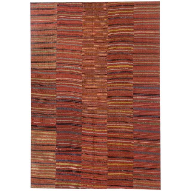 Vintage Mid-Century Turkish Jajim Kilim Flat-Weave Rug - 7′ × 10′1″ For Sale