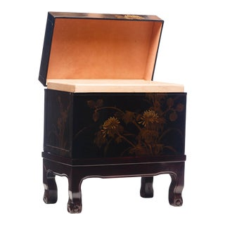 Lawrence & Scott Hand-Painted Black Water Buffalo Leather Box With Stand For Sale