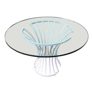 Glass and Metal 1960s Round Table For Sale