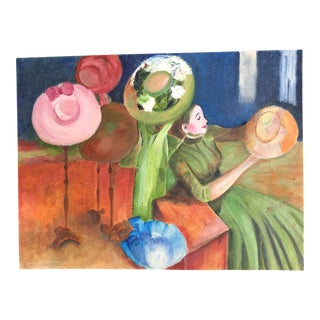 "Lisa Burris Hand Painted Copy of ""The Millinery Shop"" by Edward Degas For Sale"