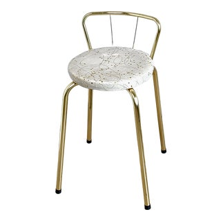 Hollywood Regency Vanity Stool with Cream Vinyl Gold Confetti & Strings Lacquered Brass Legs For Sale