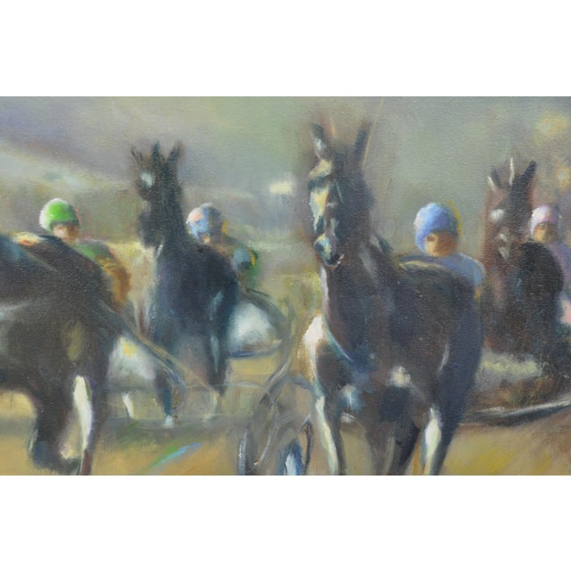 Large Original Oil Painting of Harness Horse Race - Image 2 of 7
