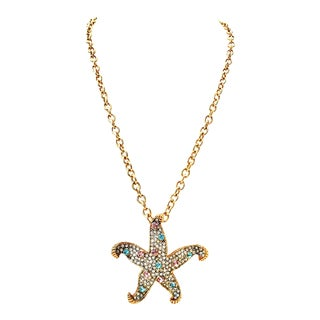 21st Century K. Lane Gold & Swarovski Crystal Starfish Pendant Necklace For Sale