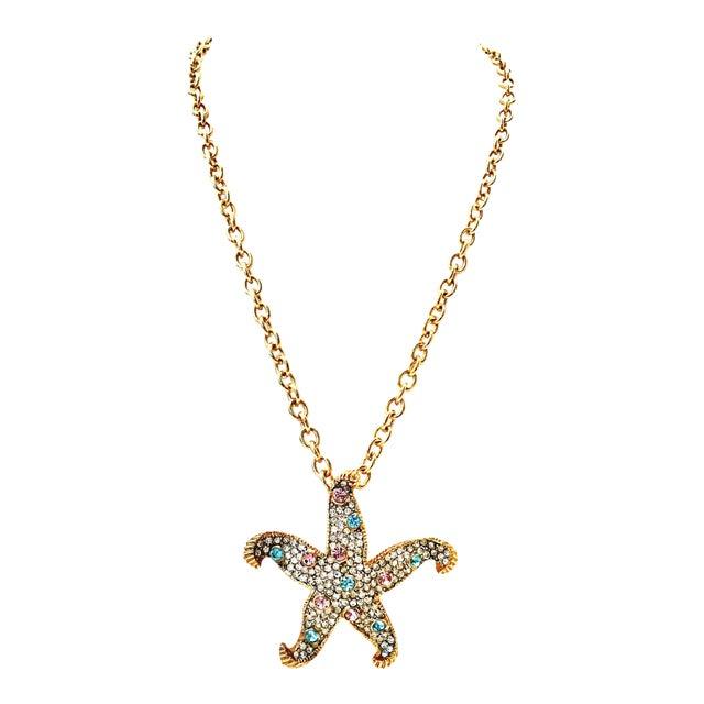 21st Century K. Lane Gold & Swarovski Crystal Starfish Pendant Necklace For Sale