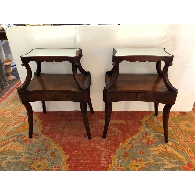 1930s Traditional Grosfeld House Crotch Mahogany 2-Tier Nightstand - a Pair For Sale - Image 9 of 13