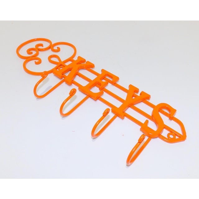 Modern Orange Wrought Iron Key Hook Holder For Sale - Image 4 of 5