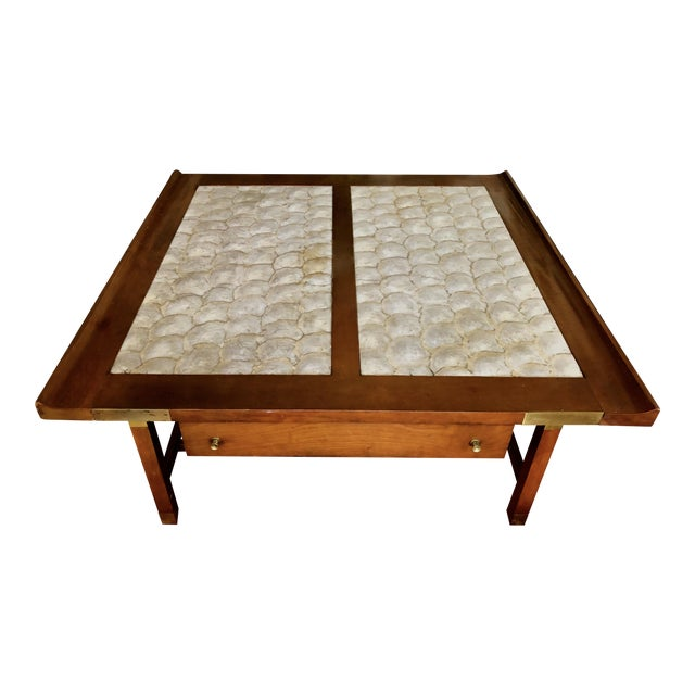 Mid-Century Hollywood Regency Teak and Mother of Pearl Square Coffee Table For Sale