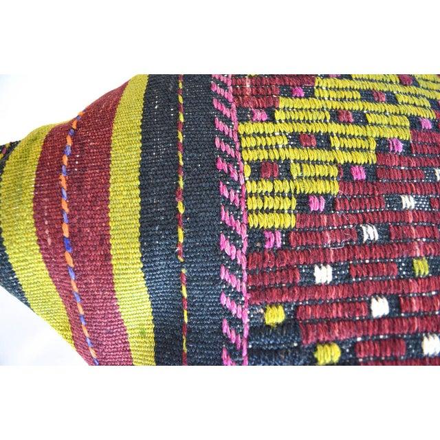 "Islamic Hand-Woven Kilim Rug Throw Pillow Turkish Sham Diagonal Cut - 16"" X 16"" For Sale - Image 3 of 6"
