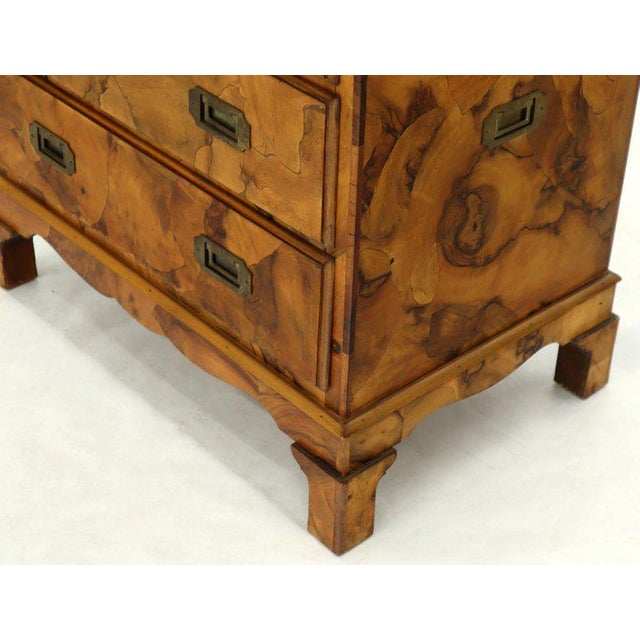 Campaign Style Patch Burl Olive Wood Small Bachelor Chest Dresser Cabinet For Sale - Image 11 of 13
