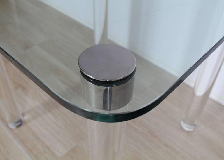 Thick Glass Top Lucite Legs Mid Century Modern Square Game Dinette Table    Image 5