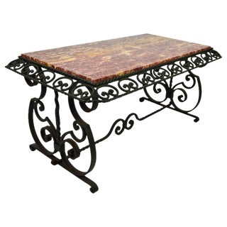 French Wrought Iron Art Deco Coffee Table With Marble Top For Sale