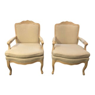 Vintage Professionally Reupholstered French Provincial Armchairs - a Pair For Sale