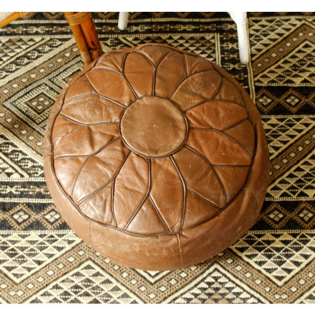 Vintage Brown Leather Floor Pouf - Image 3 of 7