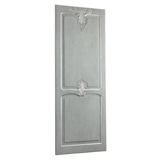 Hand Carved Italian Silver Leaf Sliding Interior Barn Door For Sale