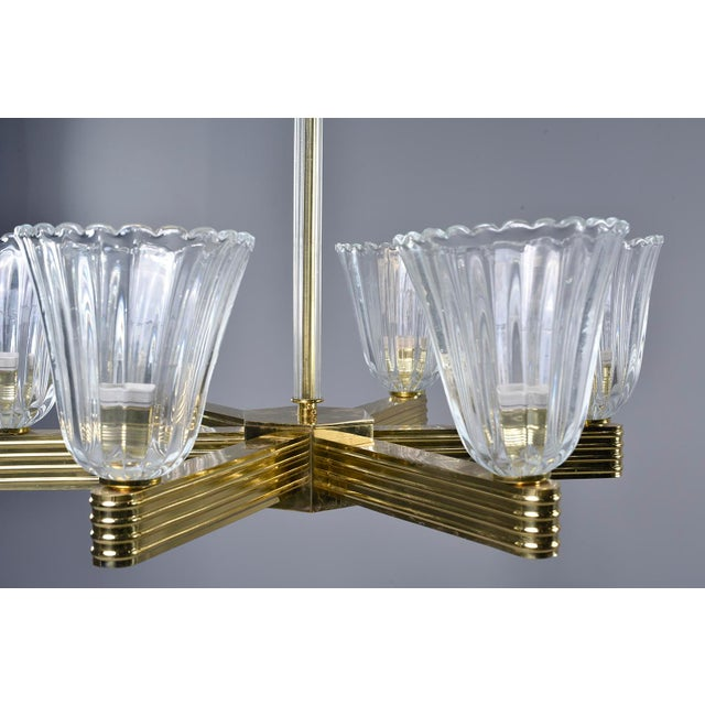 Metal Ercole Barovier and Toso Six Light Brass Chandeliers - a Pair For Sale - Image 7 of 13