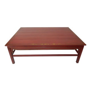 Hand Painted Red Chinoiserie Coffee Table