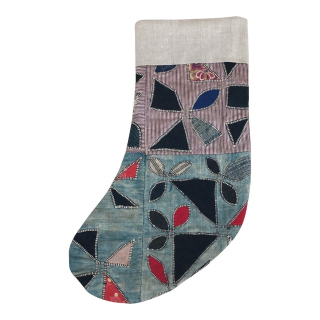 Christmas Stocking Made with Quilted Hmong Textile - Image 1 of 5