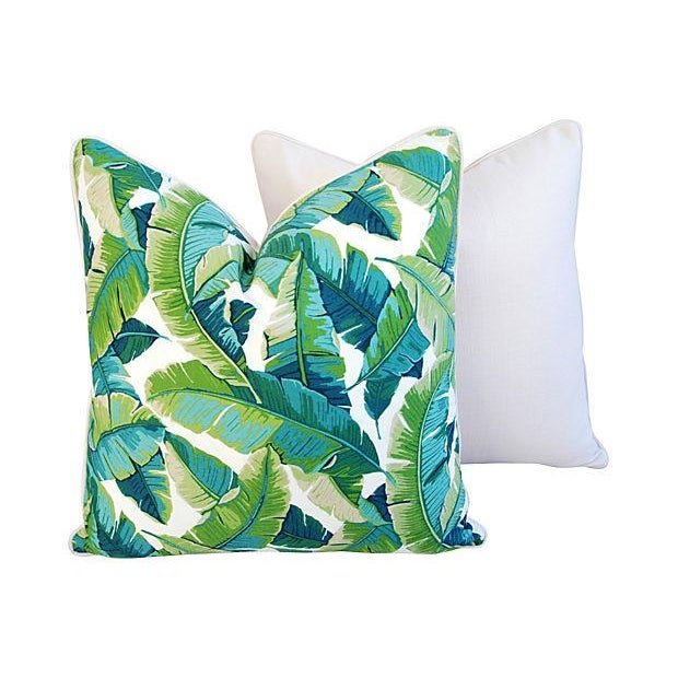 "24"" Square Custom Tailored Tropical Banana Leaf Feather/Down Pillows - Pair - Image 4 of 7"