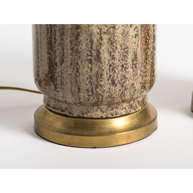 Mid-Century Modern Brown Glaze Ceramic Lamps - a Pair For Sale - Image 4 of 7