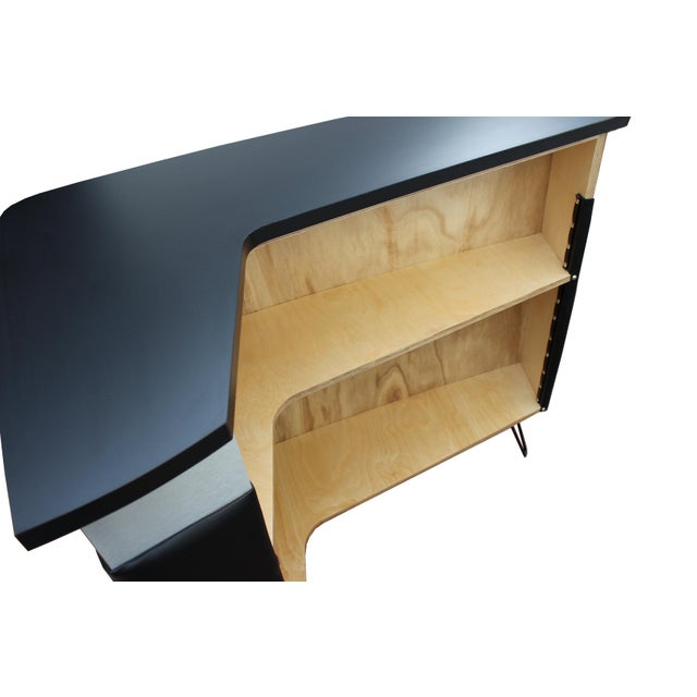Mid Century Modern Style Black Boomerang Bar With Brushed Metal Accent For Sale - Image 4 of 6