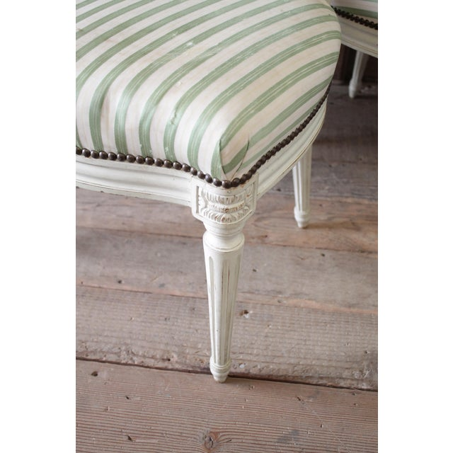 Louis XVI Style French Painted Cane Back Dining Chairs -Set of 4 For Sale - Image 10 of 11
