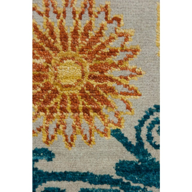 "Arts & Crafts Suzani Hand Knotted Area Rug - 9'1"" X 12'3"" For Sale - Image 3 of 3"