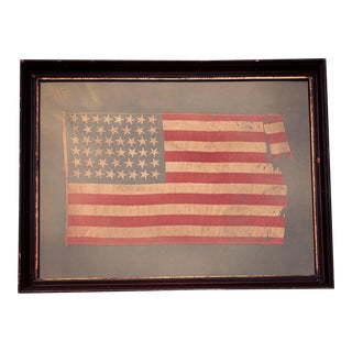 Antique 46 Star American Flag in Period Frame For Sale