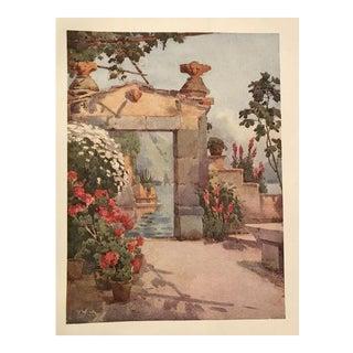 1905 Original Italian Print - Italian Travel Colour Plate - a Doorway at Varenna, Lago DI Como For Sale