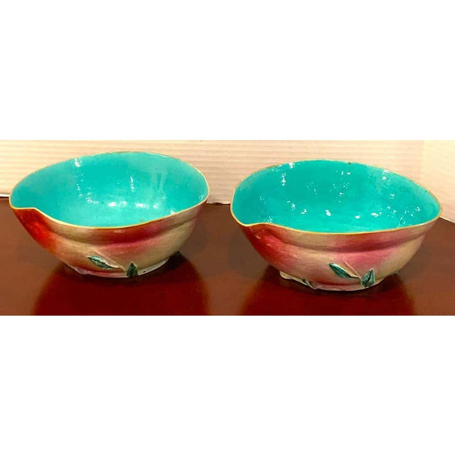 Pair of Chinese Export Famille Rose Altar Fruit Peach Bowls For Sale - Image 9 of 12
