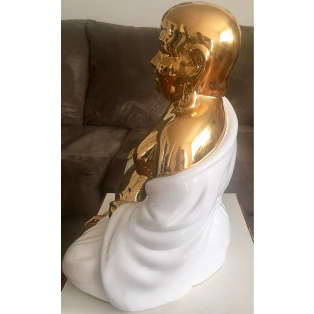 Late 20th Century Large Italian Gold& White Buddha Statue For Sale - Image 5 of 8