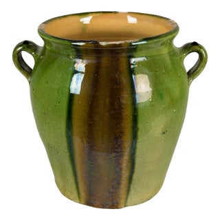 French Green Glazed Terracotta Pot For Sale