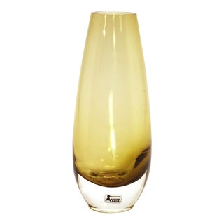 1960s Vintage Aseda Glasbruk Sweden Golden Blown Glass Vase For Sale