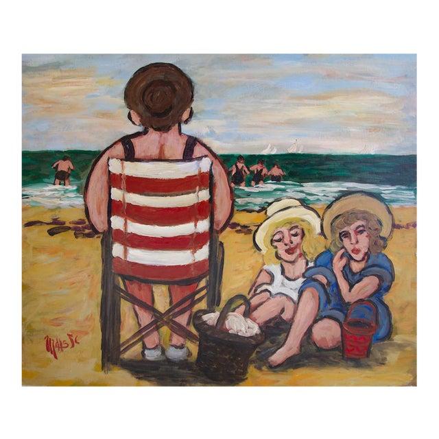 """Jean-Claude Maas """"Les Jumelles à La Plage"""" Painting - Image 1 of 5"""