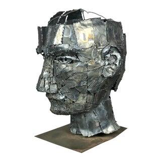 Large Bust Sculpture Brutalist Man of Torch Cut Metal For Sale