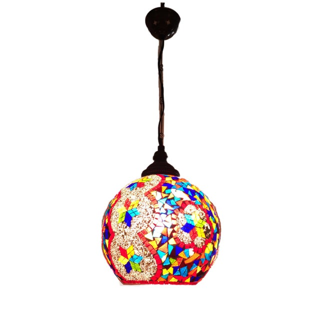 Turkish Mosaic Ceiling Round Lamp For Sale - Image 10 of 10