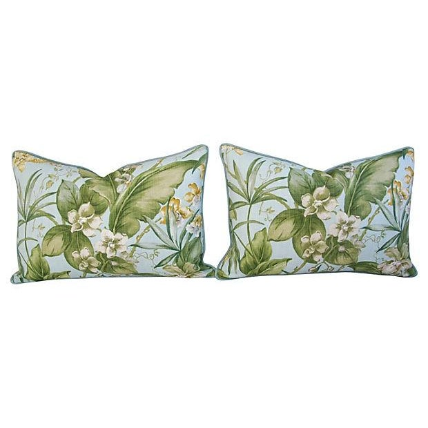Large Tropical Linen & Velvet Pillows - Pair - Image 2 of 7