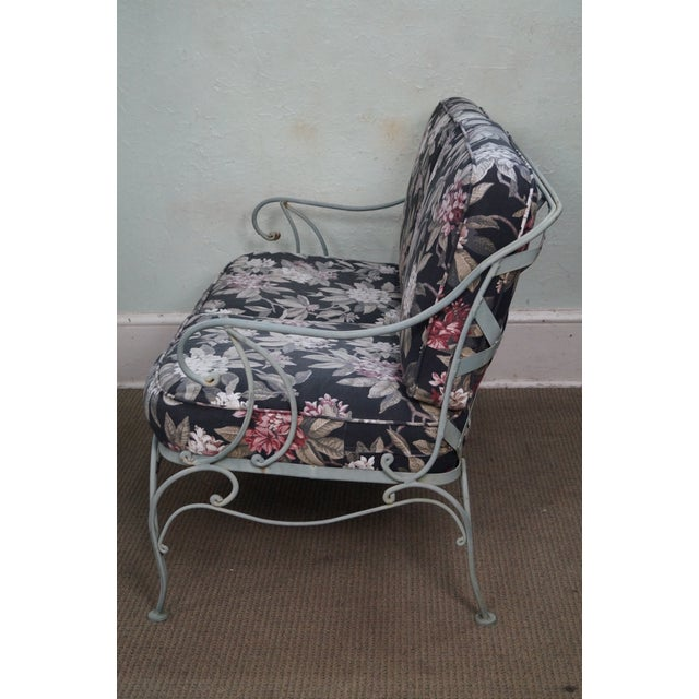 Custom Floral Cushion Iron Patio Settee - Image 3 of 10