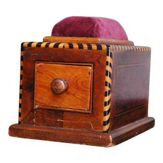 Wooden Inlay Pin Cushion Box With Drawer For Sale