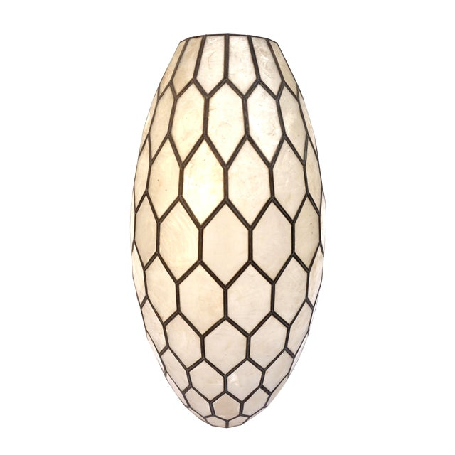 Large Vintage Bohemian Glam Capiz Shell Lampshade   Mid-Century Bullet Shape Lamp Shade   Chic Statement Lighting For Sale