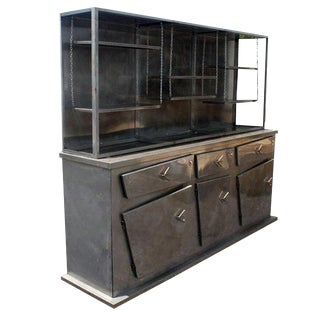 6ft Industrial Post Modern Metal Breakfront Cabinet For Sale