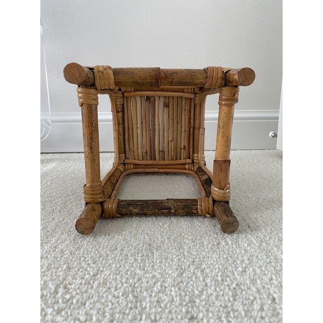 Wood Vintage Bamboo Rattan Plant Stand/Table Riser For Sale - Image 7 of 8
