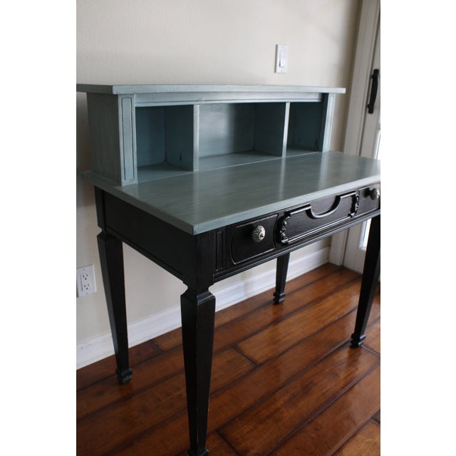 Mid 20th Century Vintage Black & French Blue Custom Painted Accent Desk, For Sale - Image 5 of 11