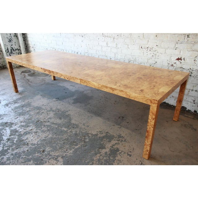 Milo Baughman for Directional Burl Wood Parsons Extension Dining Table For Sale - Image 11 of 11