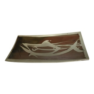 20th Century Modernist Cubist Art Pottery Centerpiece Tray For Sale